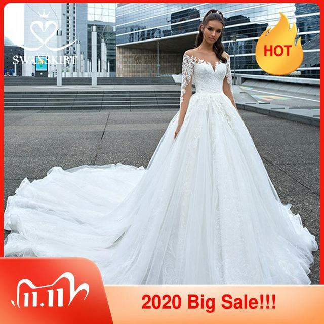 Swanskirt אפליקציות חתונת שמלת 2020 ארוך שרוול תחרה עד כדור שמלת קפלת רכבת נסיכת הכלה שמלת F117 Vestido דה Noiva
