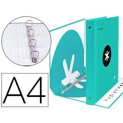 Папка 4 кольца 40 мм Смешанная свинцовая бумага ANTARTIK A4 подкладка мятного цвета