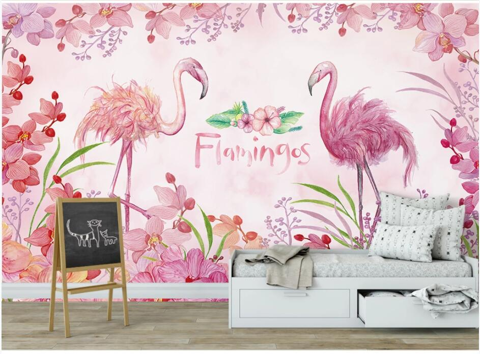 Custom Photo 3d Wallpaper Pink Flamingo Flowers Cartoon Child TV Background Wall Home Decor Living Room Wallpaper For Walls 3 D