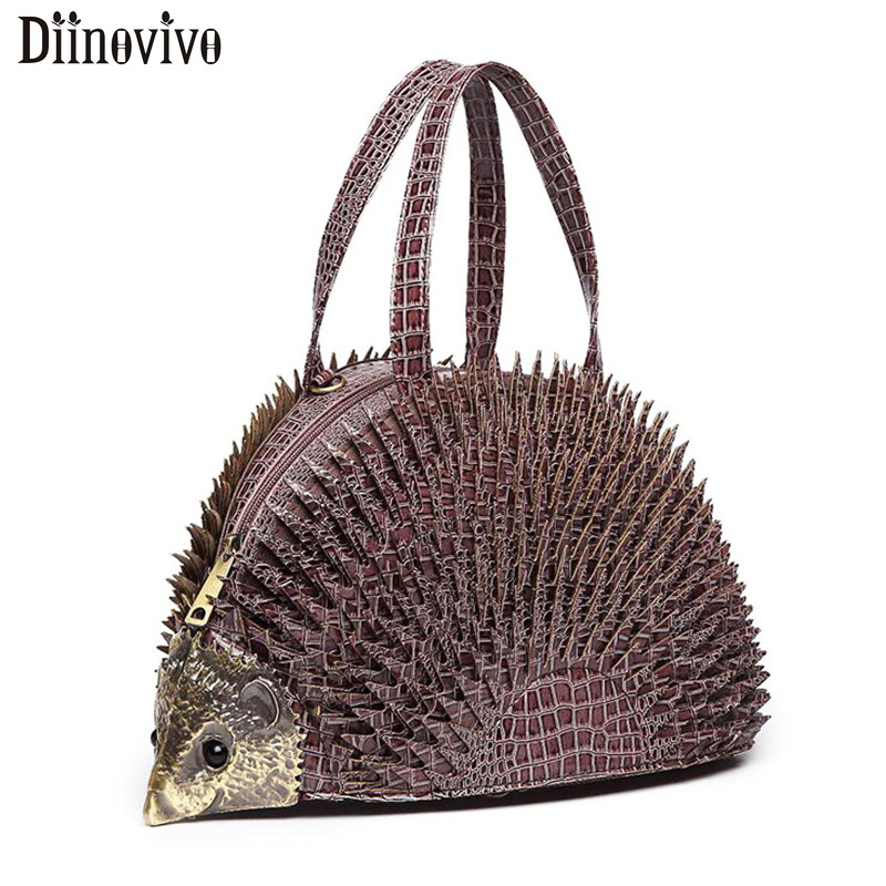 DIINOVIVO Simulation Hedgehog Styling Women Handbags Famous Brand Crocodile Patent Leather Bags Women Shoulder Bag Tote WHDV1217
