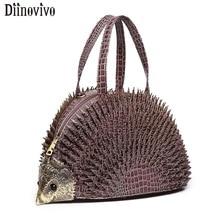 DIINOVIVO Simulazione Hedgehog Styling Donne Borse di Marca Famosa Borse In Pelle Verniciata di Coccodrillo Sacchetto di Spalla Delle Donne Tote WHDV1217