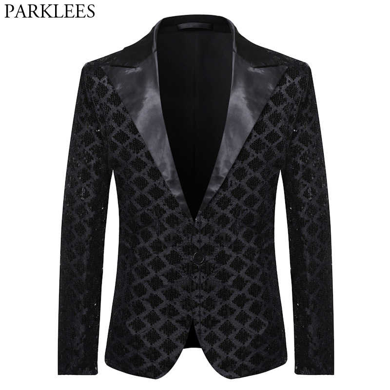 Men's One Button Glitter Sequin Blazer 2020 Shiny Black Mens Suit Jacket DJ Club Party Stage Clothes Wedding Tuxedo Blazers Male