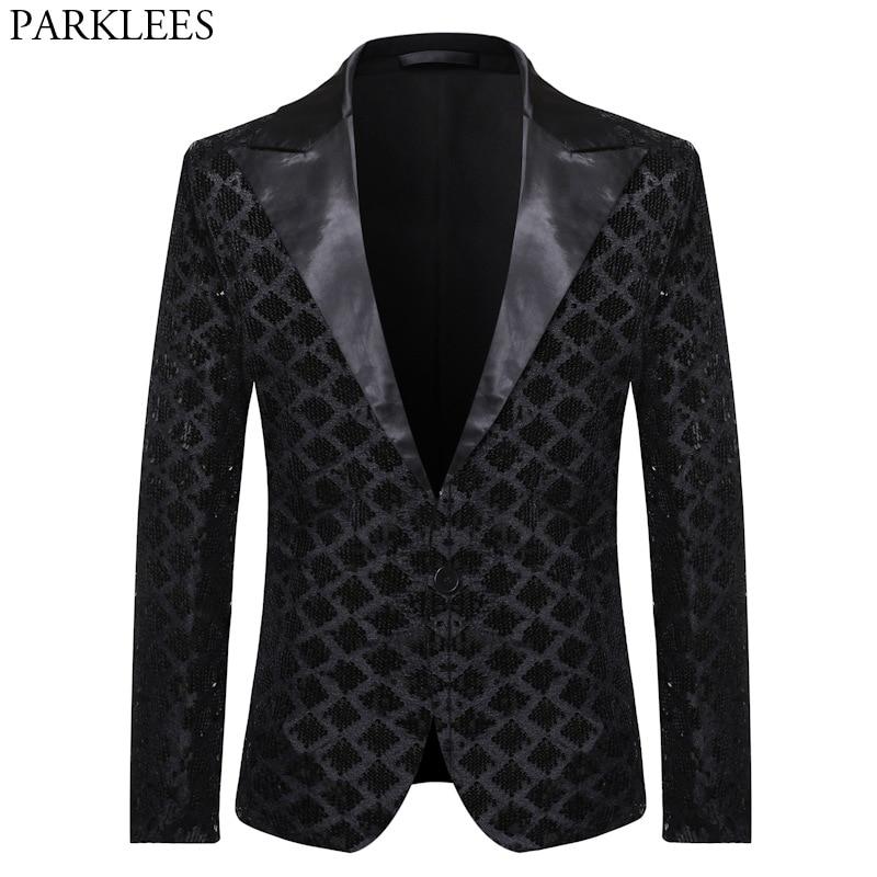Men's One Button Glitter Sequin Blazer 2020 Shiny Black Mens Suit Jacket DJ Club Party Stage Clothes Wedding Tuxedo Blazers Male