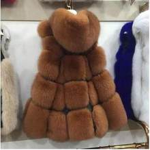 Vetement Women's Winter 2019 Vetement Overcoat Artificial Fur Coat Fox Fur Femme Waistcoat With Fur Cap Furry Outwear AR87(China)
