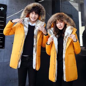 Image 2 - 2019 אופנה גברים ונשים דביבון פרווה צווארון חורף מעיל מעיל חם עבה ארנב פרווה מקרית מעילי גדול גודל 4XL 5XL