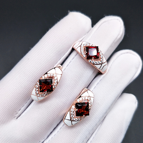 Bolai natural garnet jewelry sets 925 sterling silver white enamel earrings ring gemstone jewelry for women's best gift 2020
