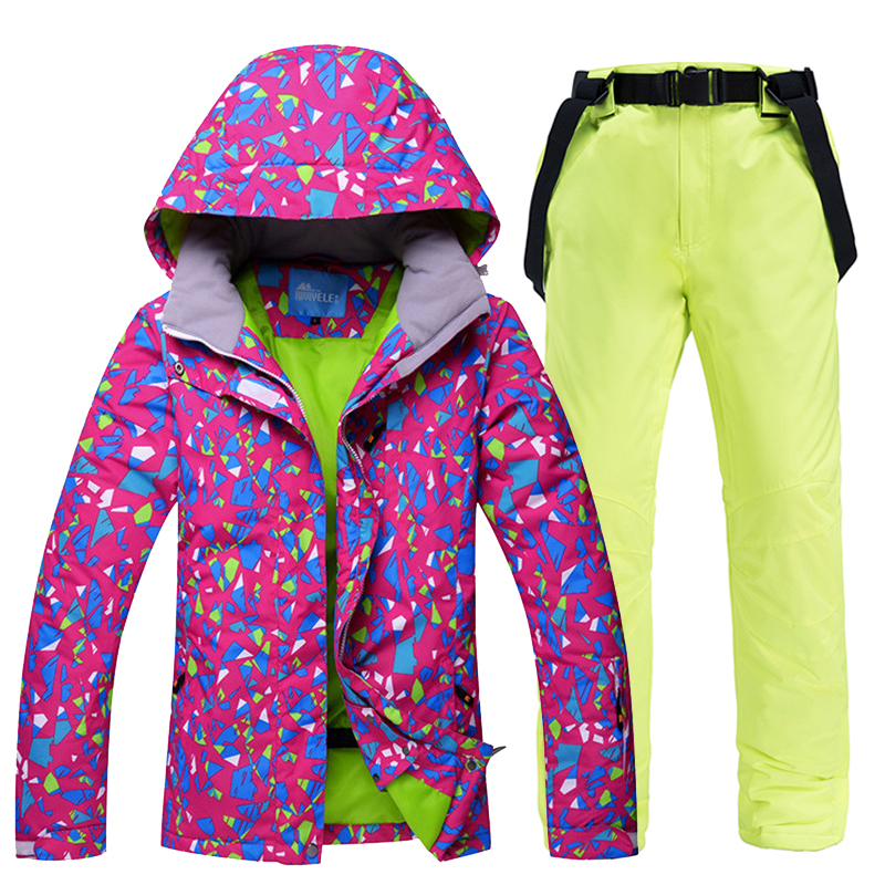 New Ski Suit Women Winter Snow Clothing Set Thick Waterproof Ski Jacket And Pants Set -30 Degree Skiing And Snowboarding Suits