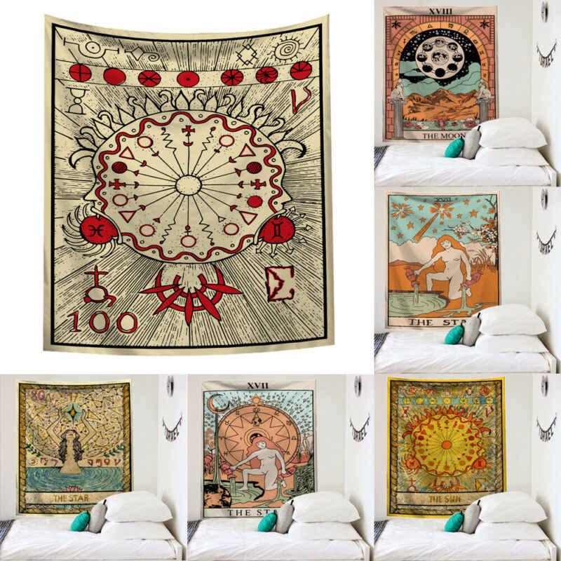 Mandala Tarot Permadani Gantung Dinding Moon Phase Perubahan Permadani Dekorasi Kamar Tidur Seprai Lemparan Cover Sun Moon Dekorasi Dinding 95X73 Cm