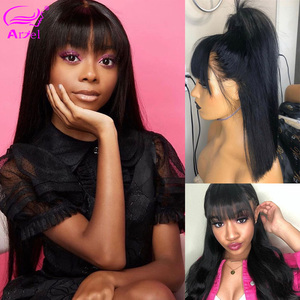 Image 2 - Long Wigs Straight Lace Front Human Hair Wigs With Bangs Full Machine Made Wig Bob Wig With Bangs Remy Brazilian Wigs With Bangs