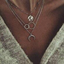 LISM Bohemia Style Women Necklace Moon Round Pendant Multila