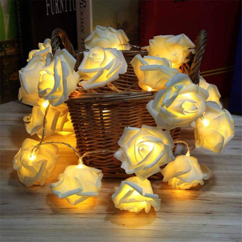 1M/2M/5M/10M Battery LED Rose Christmas Lights Holiday String Lights Valentine Wedding Decoration Flower Bulbs LED Lamp heart led curtain lights 1 5m 5t ip44 waterproof string lights for wedding valentine s day home window wall decoration d30