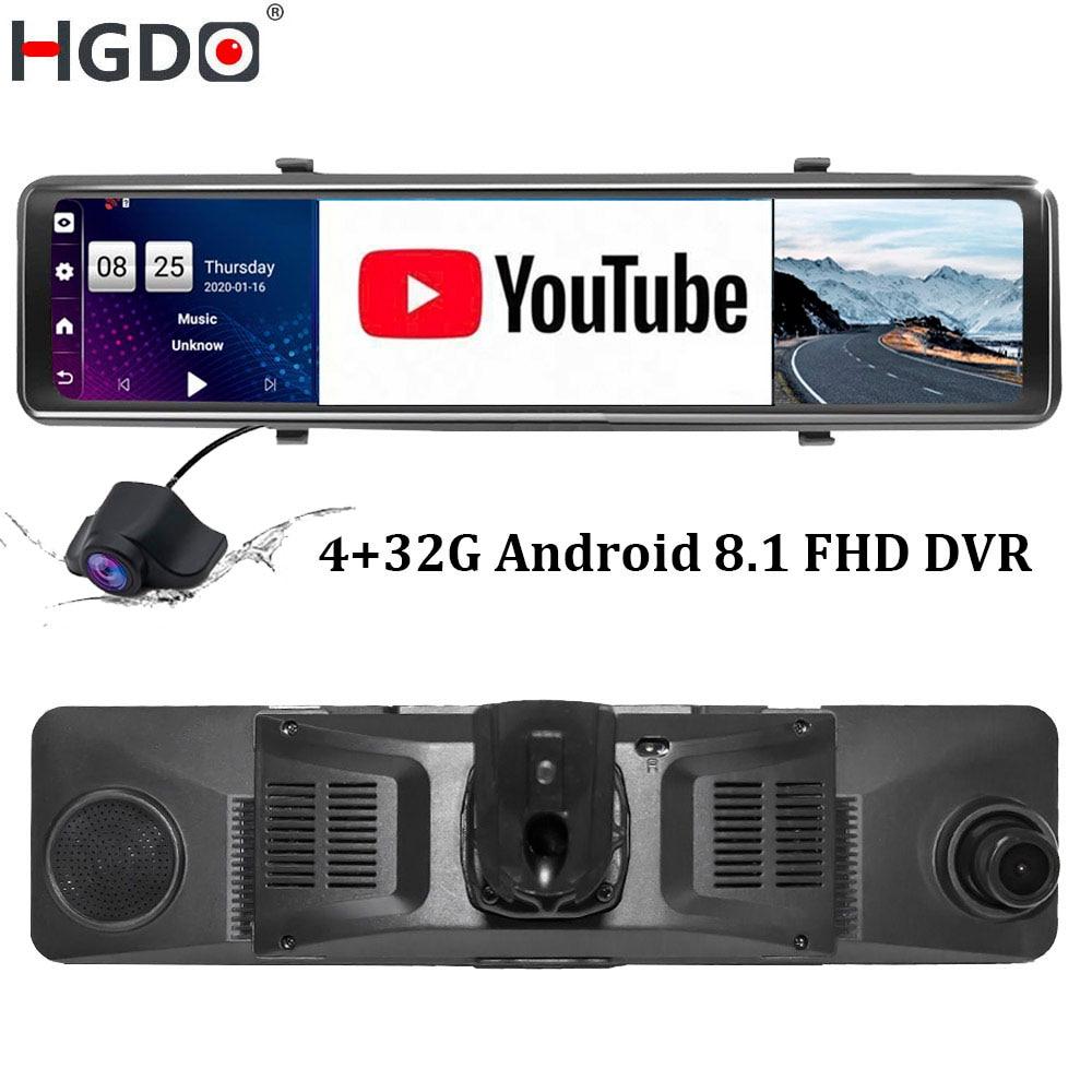 Автомобильный видеорегистратор HGDO 4G с креплением 12 дюймов Android 8,1 ADAS камера в зеркале заднего вида FHD 1080P WiFi GPS видеорегистратор 4 Гб + 32 ГБ