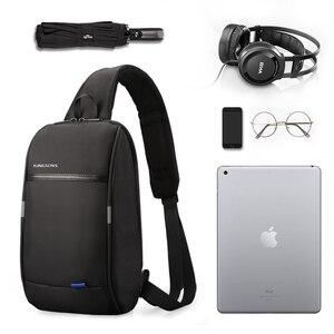Image 4 - Kingsons Mochila pequeña por encima del hombro para hombre, bolso de pecho con una correa, de viaje, de ocio, cruzado de 10,1 pulgadas, con carga USB
