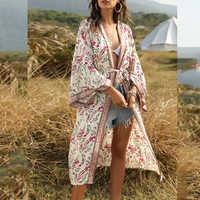 Женское платье-рубашка в стиле бохо, Повседневное платье с цветочным принтом, Пляжная накидка, кардиган с длинными рукавами, шаль, купальник...