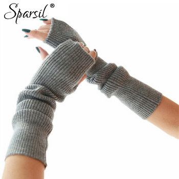 Sparsil Women's Winter&Autumn Christmas Cashmere Blend Knitted Long Gloves Solid Color Fashion Warm For Lady Elbow Mittens
