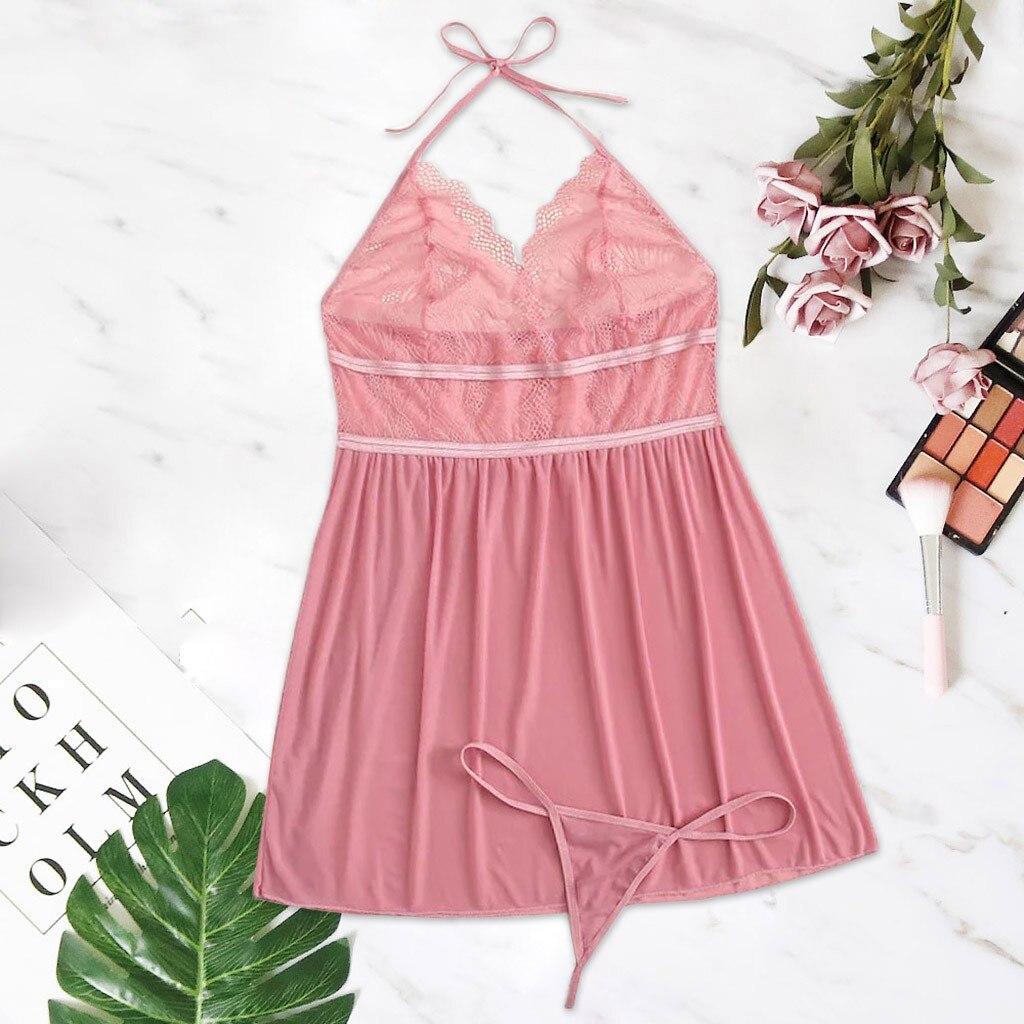 New Women Sexy Lace Plus Size Nightwear V-Neck Print Backless Sleeveless Nightdress Thong Lingerie Ladies Sleepwear 3XL-8XL