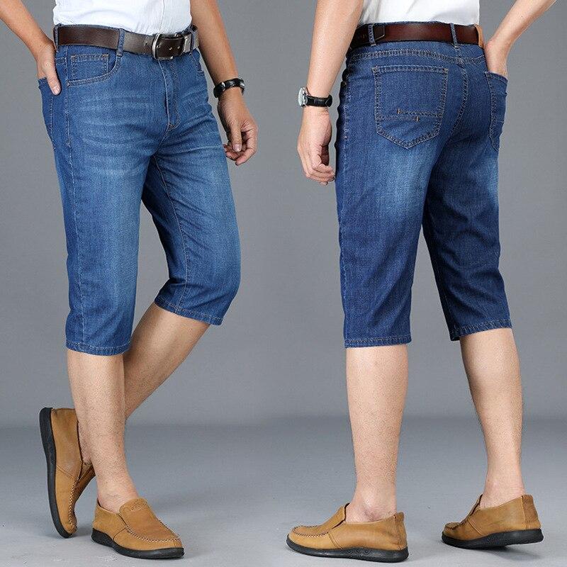 2019 Summer Thin Section Men's Elasticity Business Straight-Cut Capri Jeans Slim Fit Large Size Jeans Men Cotton