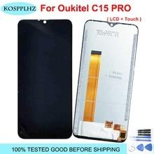 100% נבדק 6.09 אינץ עבור Oukitel C15 Pro LCD והרכבת מסך מגע 1280x600p שחור צבע עבור OUKITEL C15pro טלפון + כלים