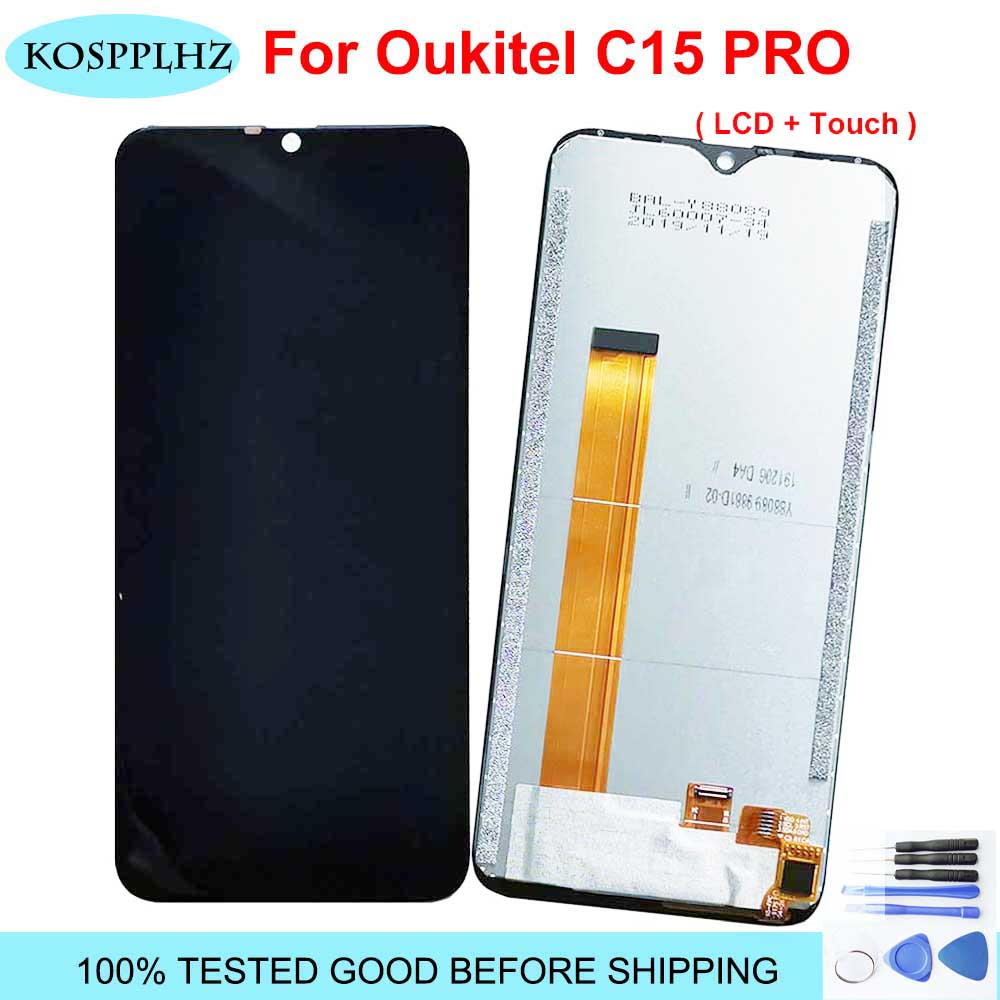 100% TESTED 6.09 Inch For Oukitel C15 Pro LCD And Touch Screen Assembly 1280x600p Black Color For OUKITEL C15pro Phone + Tools