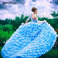 JaneVini 2020 Gorgeous Tiered Long Prom Dresses with Sleeve V Neck Lace Beaded Ball Gown Organza Princess Formal Dress Customize