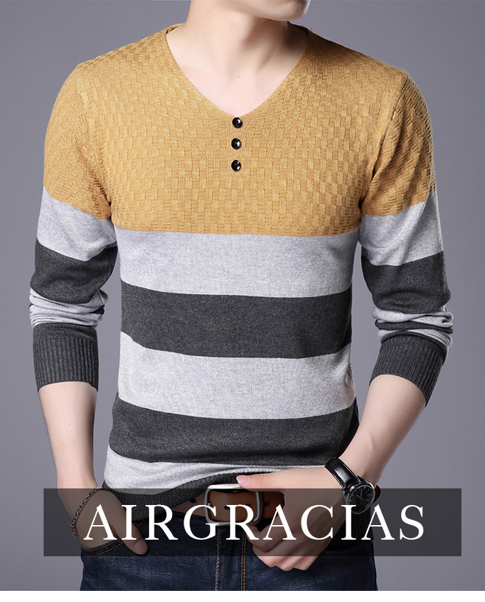 AIRGRACIAS Fashion Brand Sweater Men 2019 Autumn Winter Mens Sweaters Slim Pullovers Men Classic Knitwear Pull Homme Sweater