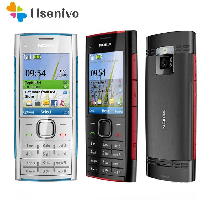 Original unlokced nokia x2 X2-00 bluetooth fm java 5mp desbloqueado telefone celular com teclado inglês/rússia/hebraico/árabe