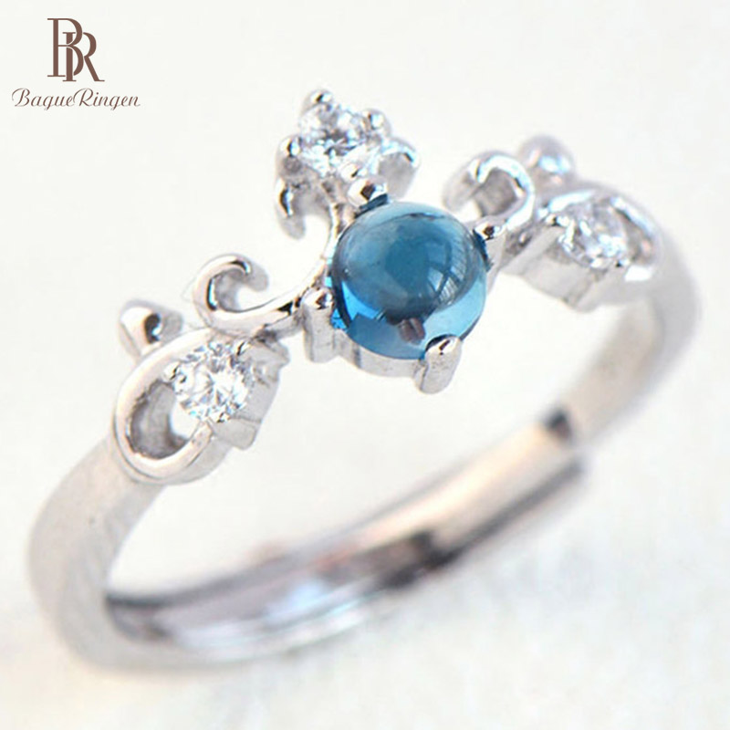 Bague Ringen S925 Jewelry Rings For Women Simple Classic Topaz Sapphire Crown Female Engagement Ring Valentine's Day Gifts