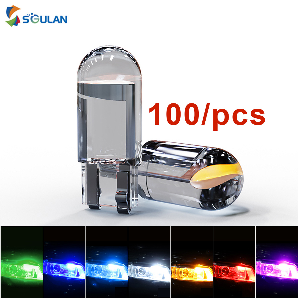100 Pcs / 1 Lot 194 168 W5W T10 LED Car Bulb 6000k 8000K 10000K Dome Light 12V Crystal Blue Yellow Dome Lights Side marker Lamp