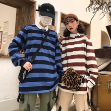 Vintage stripe Print men T shirt Oversized Couple Tops 2019 New Vogue Clothes Plus size Autumn Winter Long Sleeve Turn-down Collar cotton Polyester women tee stylish shirt collar slimming flower print long sleeve polyester shirt for men