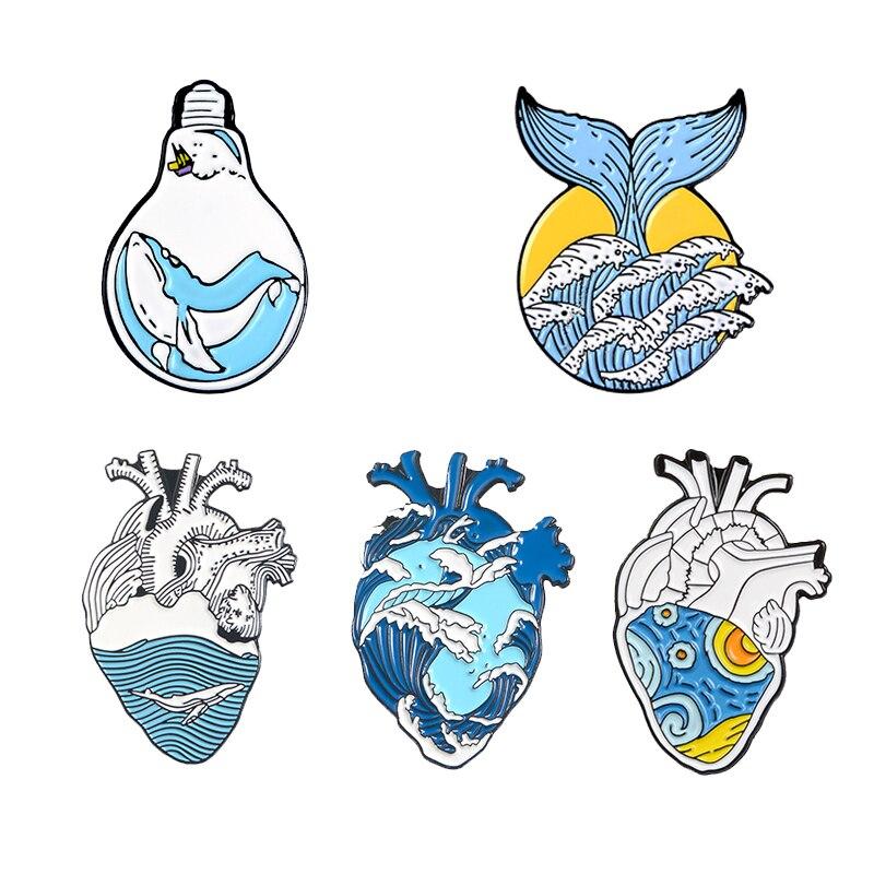 3~6pcs/set Mixed theme Enamel Pin Cat Dog Book Read Ocean Wave Heart Brain Mermaid Custom Brooch Lapel Pin Badge Cartoon Jewelry 2