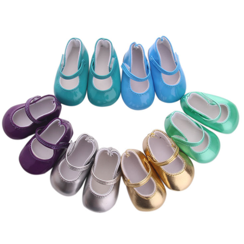 """Teal Bright Glitter Flats Fits 18/"""" American Girl Doll Clothes Shoes"""