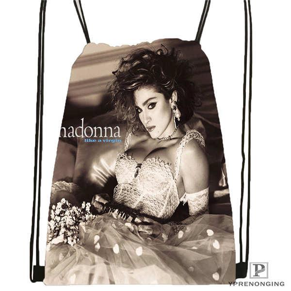 Custom Madonna- Drawstring Backpack Bag Cute Daypack Kids Satchel (Black Back) 31x40cm#180611-03-106