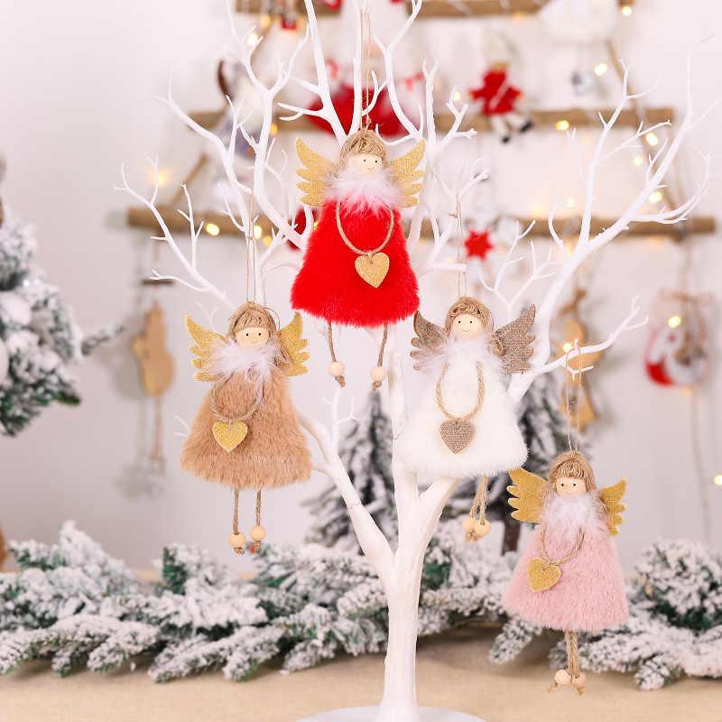 Lucu Malaikat Boneka Gadis Plush Liontin Pohon Natal Dekorasi Rumah Kayu Pohon Natal Ornamen Xmas Anak-anak Hadiah Tahun Baru 2020