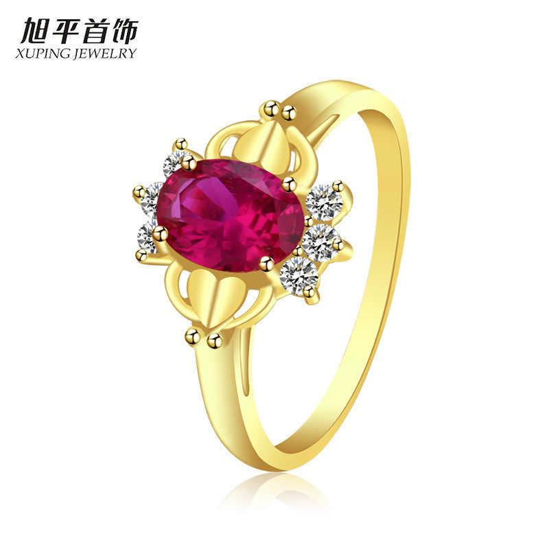 Xuping Perhiasan Berlapis Emas Cincin Wanita Faux Ruby Aksesoris Cincin Retro Cincin Wanita