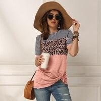 Модная женская Повседневная летняя футболка с коротким рукавом, с леопардовым принтом, в полоску, прошитая футболка, топы, футболки, женские...