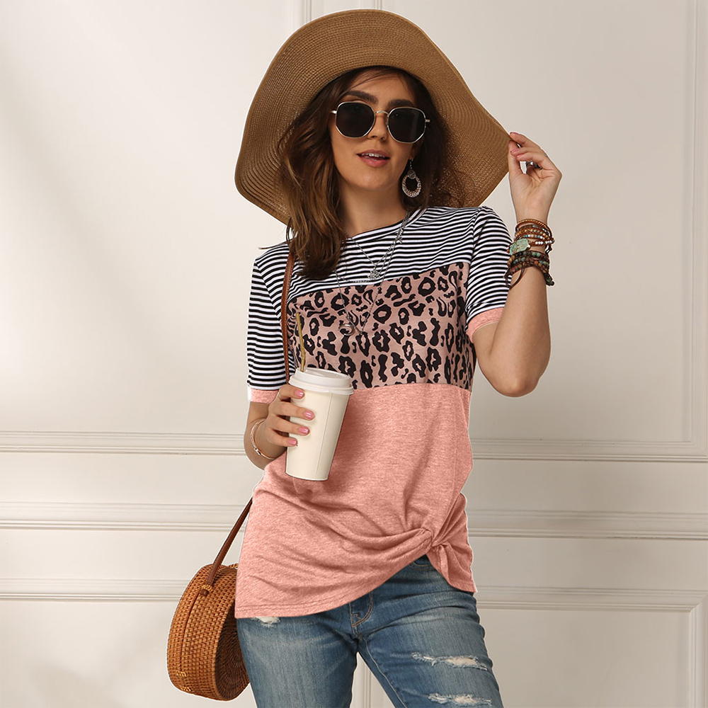 Fashion Women Casual Short Sleeve Summer T-shirt Leopard Stripes Stitching T Shirt Top Tees Femme Ladies Tshirt Clothes Soft