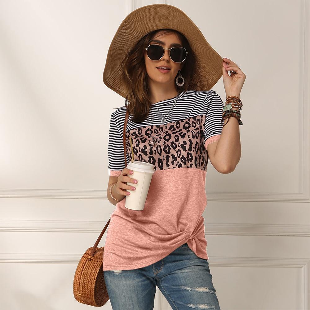 Fashion Women Casual Short Sleeve Summer T-shirt Leopard Stripes Stitching T Shirt Top Tees Femme Ladies Tshirt Clothes Soft