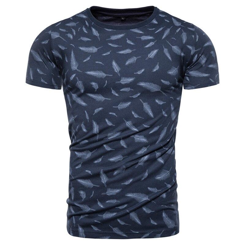 2020 New Summer 100% Cotton Feather Print T-shirt Men Sporting Gym Clothing O-neck Elasticity Men T Shirt Top-quality Tshirt Men