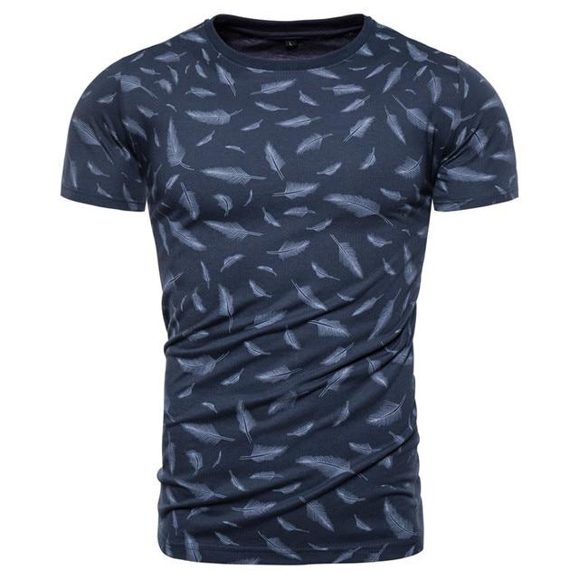 New Summer 100 Cotton Feather Print T-shirt Men Sporting Gym Clothing O-neck Elasticity Men T Shirt Top-quality Tshirt Men