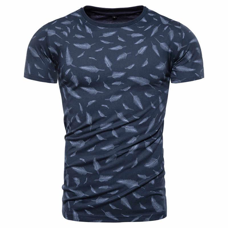 2020 neue Sommer 100% Baumwolle Feder Druck T-shirt Männer Sporting Gym Kleidung Oansatz Elastizität Männer T Shirt Top-qualität t-shirt Männer