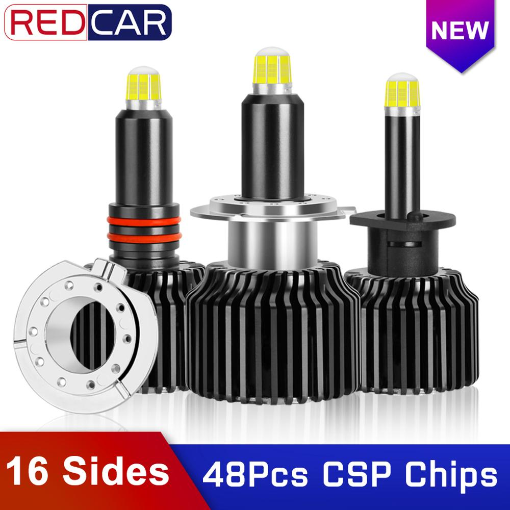 48CSP 16 Sides H7 Led Car Headlights Canbus Bulbs 6000K H8 H11 H3 H1 HB3 9005 HB4 9006 360 Degree Automotive Fog Light Auto Lamp