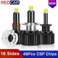 48CSP 16 Sides H7 Led Car Headlights Canbus Bulbs 6000K H8 H11 H3 H1 HB3 9005 HB4 9006 360 degree Automotive Fog Light Auto Lamp