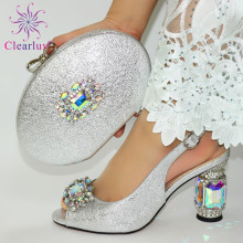 Woman Shoes Sandals Matching-Bag-Set Silver Wedding-Latest African Rhinestone Fashion
