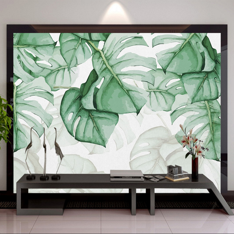 Northern European-Style Torrid Zone Simple Fresh Hand-Painted Tortoiseshell Back Leaves Plant Watercolor Sofa TV Backdrop Mural