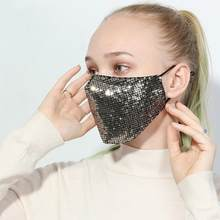 Women Fashion Anti Dust Mouth Mask Cotton Anti Haze Washable Reusable Glittering Girls Protecive Face Mask with Paillette(China)