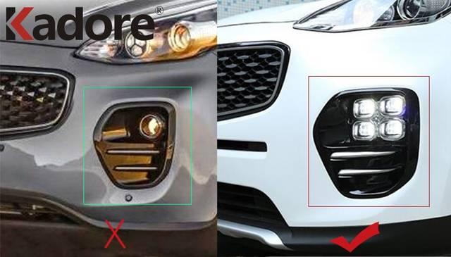 2PCS Chrome Car Front Fog Light Cover Trim For Kia Sportage GT‑Line 2016 2017