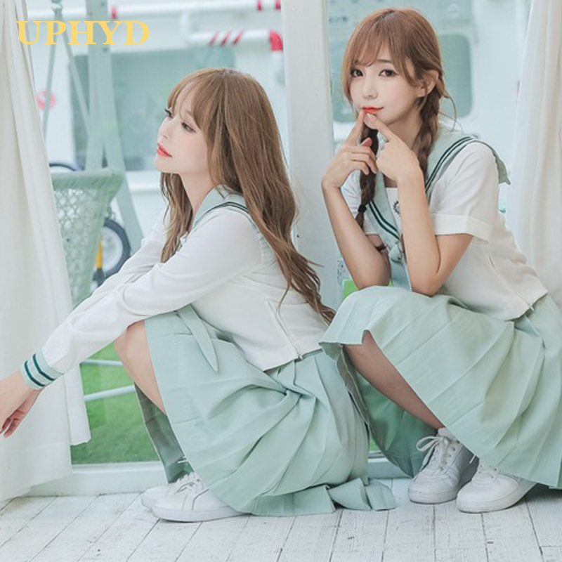 UPHYD High Quality Korea Adult School Uniforms Matcha Green Chorus Uniform School Girl Anime Cosplay Costume Sailor Suit S-2XL
