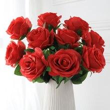 5 шт. Розы искусственные цветы высокое качество филиал низкая цена поддельные цветы свадебные украшения дома аксессуары подарок на День Свя...