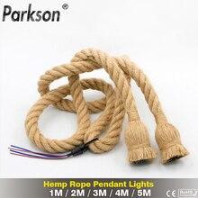 AC 95V-240V Retro Hemp Rope Pendant Light Vintage E27 LED Bulb Industrial Pendant Lamp Decor Hanging Lamp Indoor LED Lamp