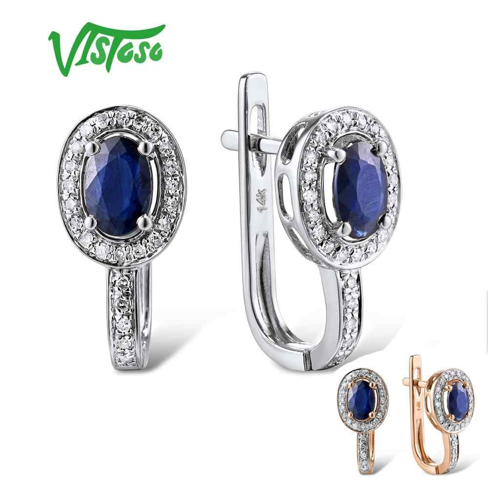 VISTOSO Gold Earrings For Women Genuine 14K 585 White/Rose Gold Sparkling Diamond Blue Sapphire Gorgeous Earrings Fine Jewelry